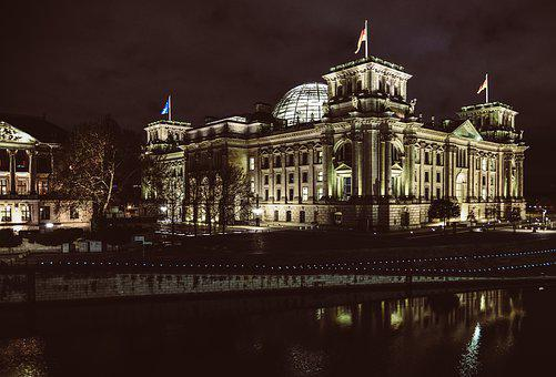Berlin, Reichstag, Night, Illuminated, Germany