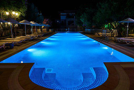 Pool, Swim, Night, Hotel, Holiday, Water, Blue, Summer
