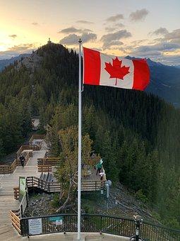 Flag, Canada, Canadian, Symbol, National, Rockies
