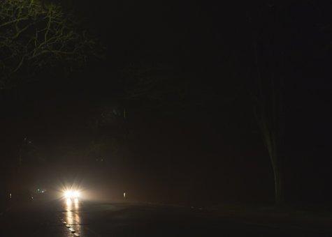 Car Headlights At Night, Night Shot, Car Lights, Road