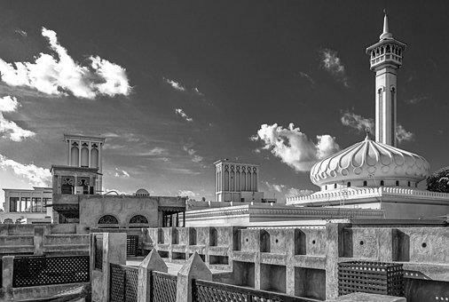 Black And White, Mosque, Dubai, Sky, Clouds, Landscape