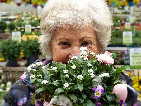 Woman, Seniorin, Pensioner, Grandma, Flowers, Easter