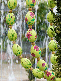 Easter Eggs, Easter Well, Water, Fountain, Tradition