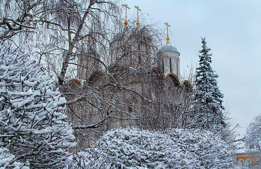 Church, Russia, Moscow, Kremlin, Winter, Trees, Frost