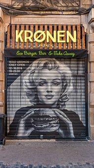 Graffiti, Marylin, Street Art, Roll Up Door, Art