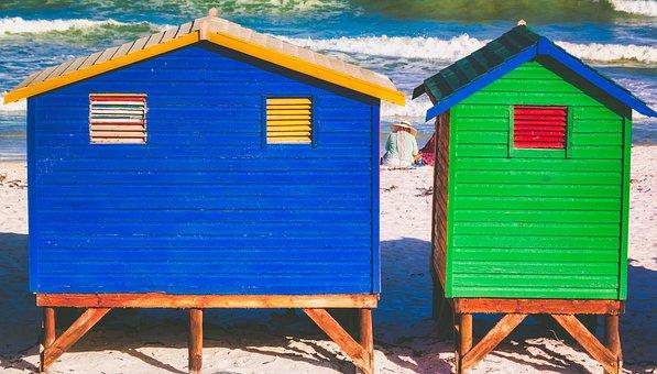 Beach, Huts, Colourful, Hut, Sea
