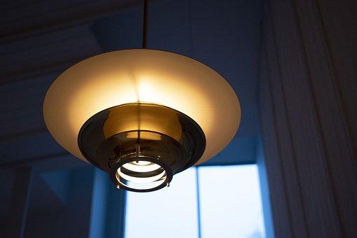 Lamp, Light, Blue, Window, Dark, Golden