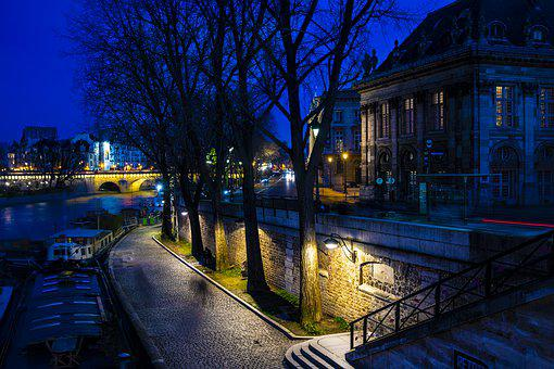 Paris, Night, Scene, France, City, Architecture