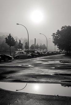 City, Reflection, Sun, Black White