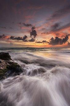 Sunset, Wave, Beach, Sea, Sky, Water