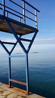 Croatia, Sea, Diving Platform, Shabby