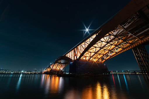 Han River, Seongsan Bridge, Seoul, Night View, Bridge