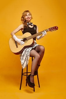Pin-up Girl, Guitar, Stockings, Sheet Music, Fortieth