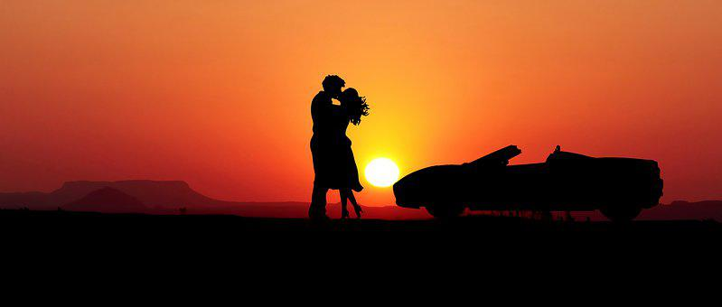 Sunset, Couple, Car, Silhouettes, Love, Wedding