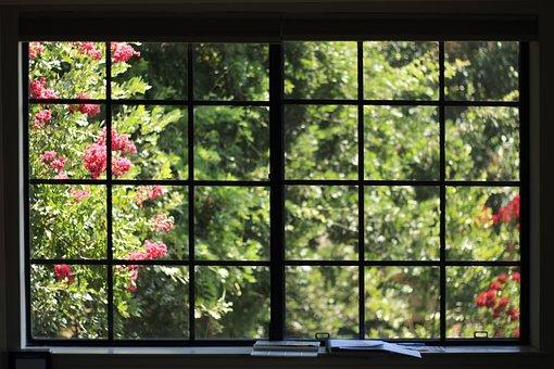 Window, Flowers, House, Spring, Trees