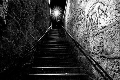 Dark, Staircase, Evening, Black