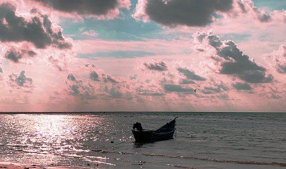 Boat, Naiyang Beach, Phuket, Sunset, Thailand, Sky