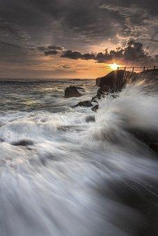 Sunset, Wave, Beach, Sea, Sky, Water, Waves, Horizon
