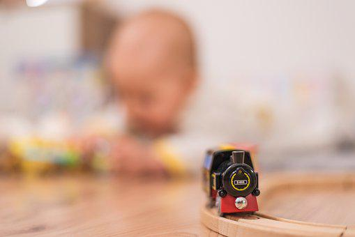 Kid, Baby, Play, Playing, Small, Floor, Train, Toy, Lay