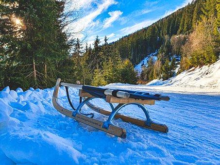 Sled, Snow, Winter Theme, Landscape, Frozen, Alps, Cold