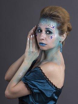 Girl, Woman, Portrait, Face Art, Makeup, Winter, Beauty