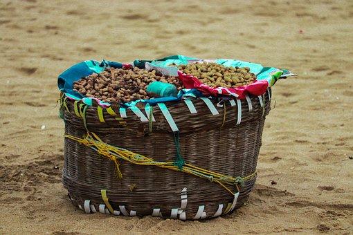 Beach, Groundnut Sales, Basket, Wooden