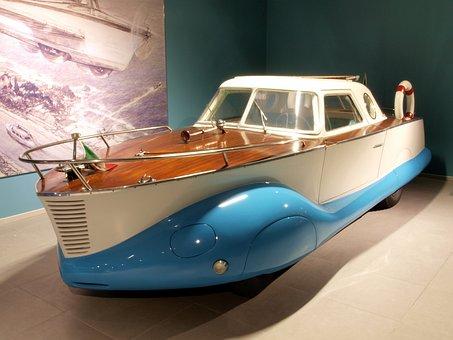 Fiat Boat Car, 1953, Car, Automobile, Engine