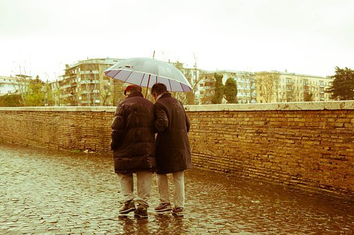 Old People, Elderly, Couple, Rain, 70 Years