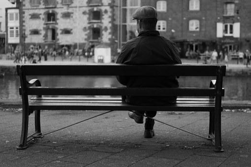 Man, Bench, City, Waiting, Sitting, Hat, Old, View