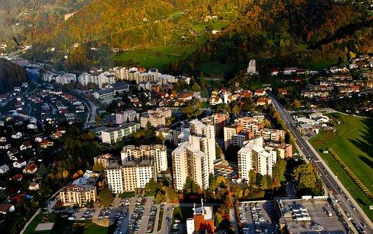 Slovenia, By Air, Hills, Blue, Sky, Green, Air, Clouds