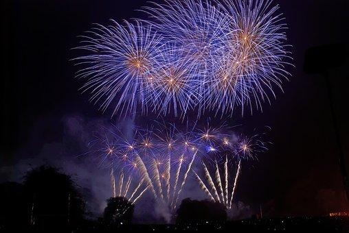 Fireworks, Blue, Burst, Bonfire