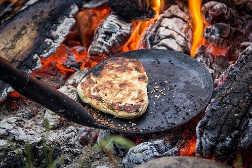 Bonfire, Fire, Burn, Hot, Food, Bread, Wood