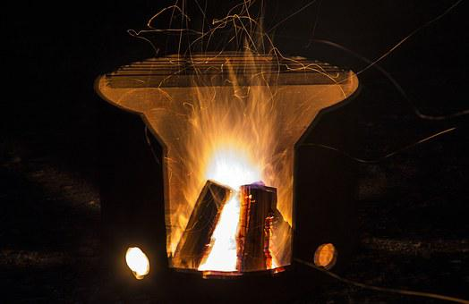 Campfire, Contained Campfire, Burning Wood, Firewood