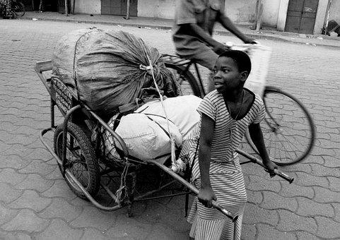 Pull, Cart, Kid, Child, Work, Transport, Pulling