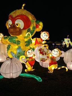 Monkey, Silk, Chinese Lantern Festival, Light, Lantern