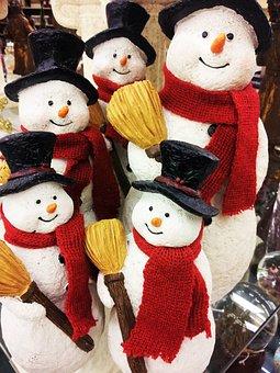 Snowman Figurines, Christmas Jewelry