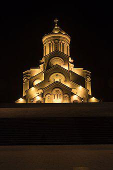 Georgia, Tbilisi, Cathedral, Trinity, Church, Night