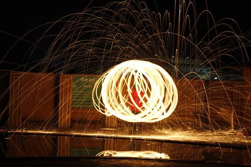 Steel Wool, Fire, Light, Circle, Sparks, Glowing