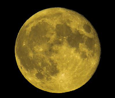Moon, Full Moon, Yellow, Night, Dark, Close