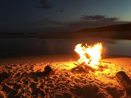 Fire, Beach, Coast, Summer, Flame, Sand, Wood, Campfire