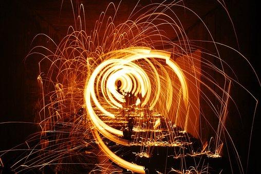 Fire, Sparks, Circles, Burn, Gold, Brown Fire