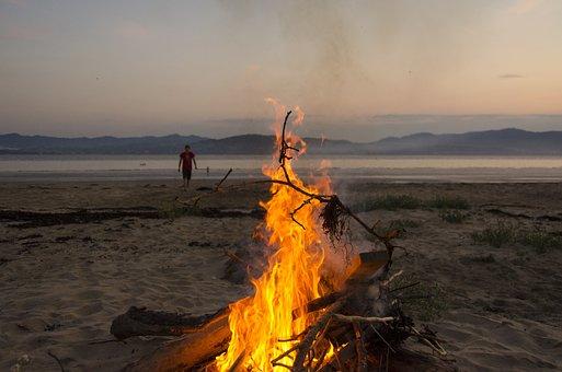 Fire, Beach, Camping, Sea, Camp, Orange, Beach Sunset