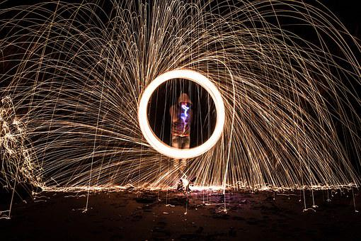 Sparks, Ring, Dark, Beach, Light, Spun, Iron, Fire