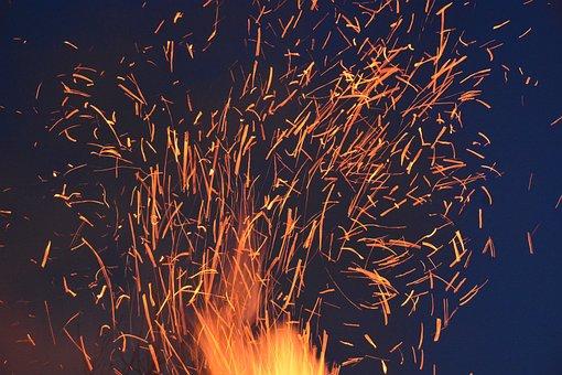 Spark, Fire, Embers, Burn, Wood Fire