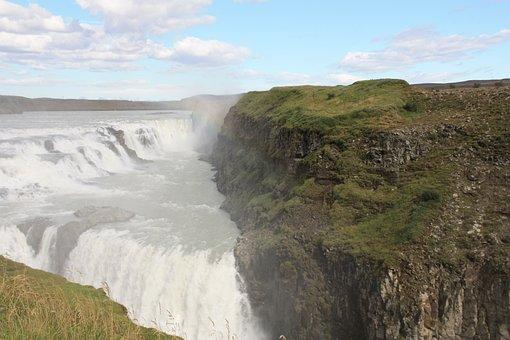 Gullfoss, Waterfall, Iceland, Water Masses, Rainbow