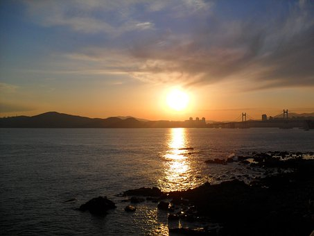 Glow, Sea, Sunset, Sky, When, Busan, Haeundae Beach