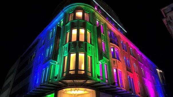 Home, Colorful, Illuminated, Window, Facade, City