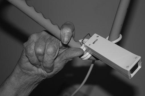 Hand, Old, Woman, Fold, Bell, Klingelkonpf, Emergency