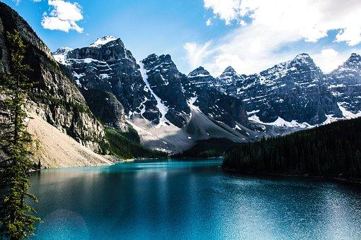 Moraine Lake, Lake, Mountain, Nature, Rocky, Moraine