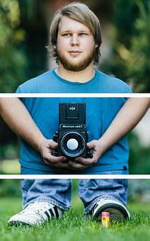 Photographer, Portrait, Camera, Young, People, Photo
